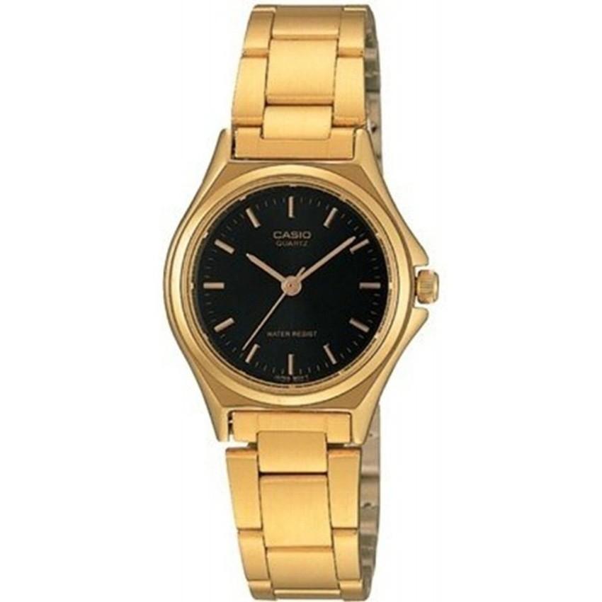 Casio นาฬิกาข้อมือผู้หญิง สีทอง/หน้าดำ สายสแตนเลส รุ่น LTP-1130N-1ARDF