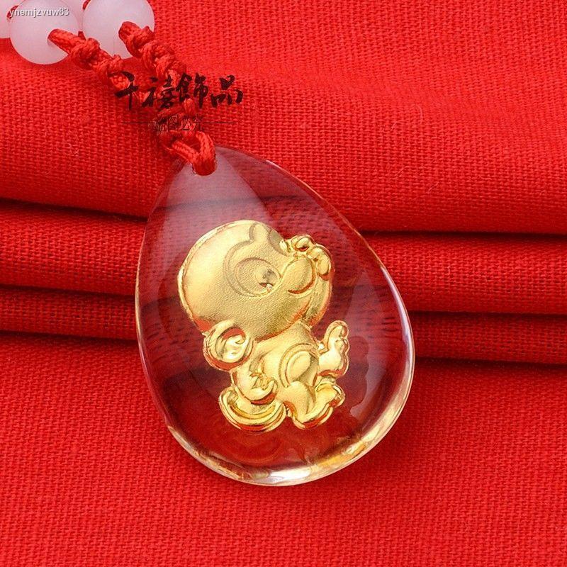 ราคาขายส่งการระเบิดஐจิวเวลรี่ฝังทองจีนราศีคริสตัลจี้สร้อยคอพระประสูติชายหญิงคู่เด็กหนูบูลเสือกระต่าย