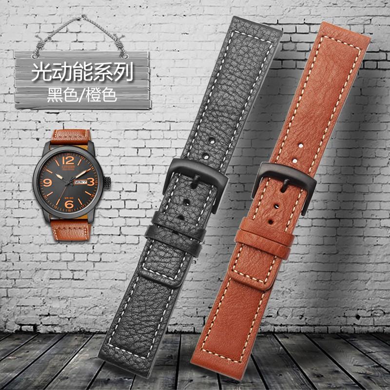 Leather watch band for Citizen Eco-Drive Men's Watch BM8475/26E 00F00X Sao Orange Black 22mm