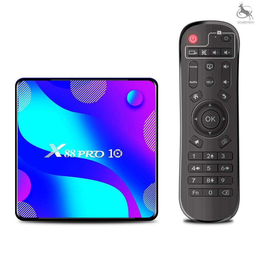 In Stock X 88 Pro 10 Android 10 . 0 กล่องรับสัญญาณทีวี Uhd 4k Rk 3318 4 Gb / 128 Gb 2 . 4 G / 5 G Dual - Band Wifi Bt 4 . 0 100 M Lan