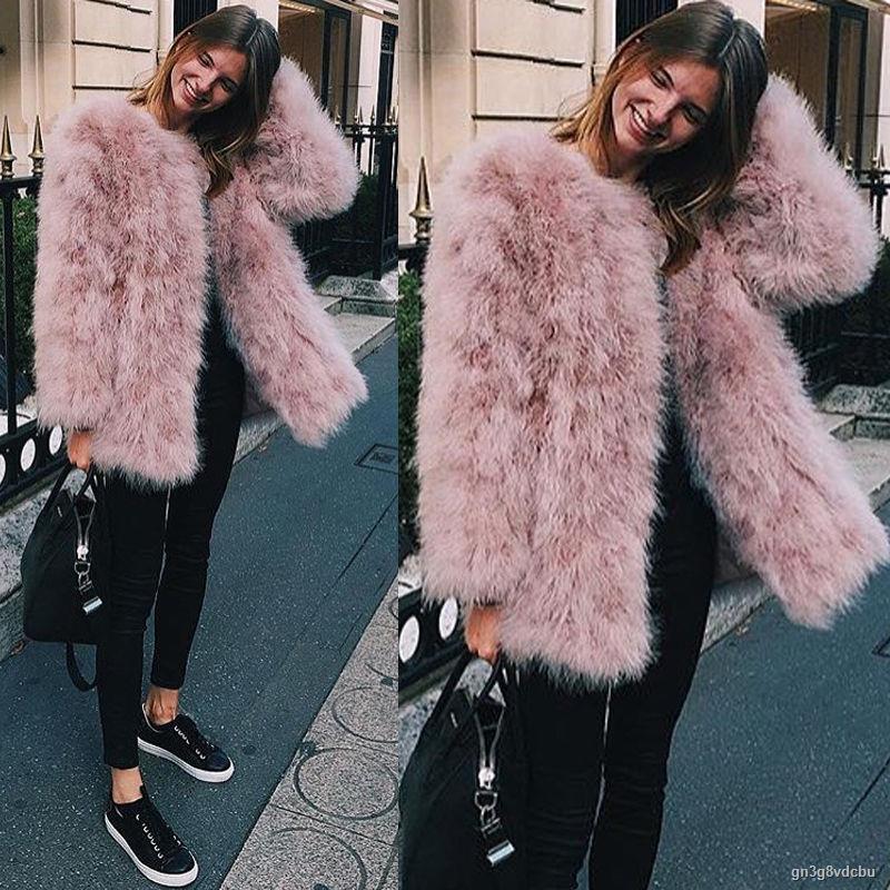 ✢Blush/White X-long Women 2021 Real Fur Coat Genuine Ostrich Feather Fur Winter Jacket For Weddings Retail / Wholesale Q