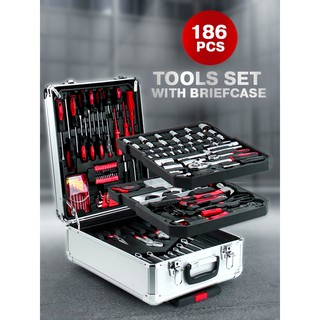 Review ชุดกระเป๋าเครื่องมือช่าง 186 ชิ้น 186-Piece Tools Set with Briefcase