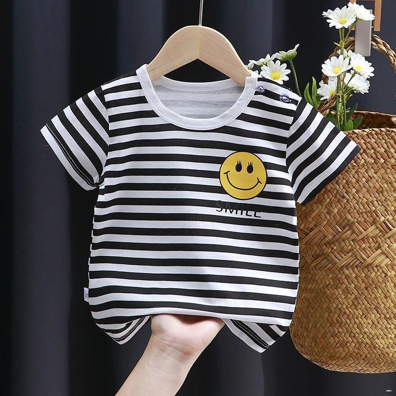 ยางยืดออกกําลังกาย✚(เสื้อผ้าเด็ก)  ผ้าฝ้าย 100% ชุดชั้นในเด็กแขนสั้นฤดูร้อนเด็กชายและเด็กหญิงผ้าฝ้ายเด็กเสื้อยืดครึ่งแข