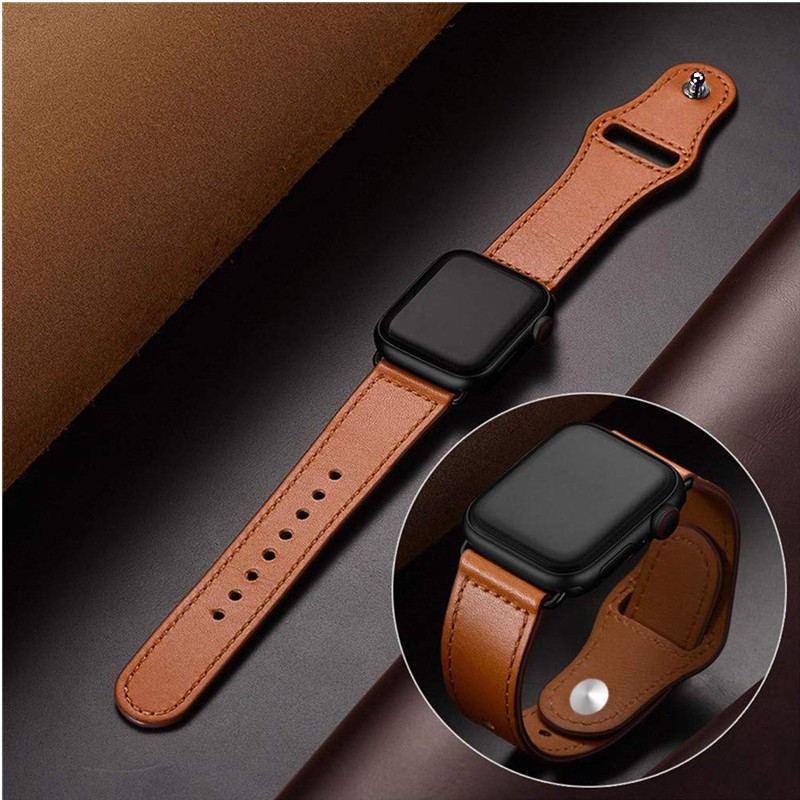 band สาย♚สายหนัง Apple Watch Band 44 มม. 40 42 38 สายหนังแท้พรีเมี่ยม iWatch Series 6 SE 5 4