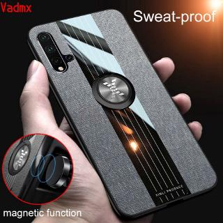 Review Huawei Nova 5i 5 Pro P30 P20 Lite Pro Case Magnetic Finger Ring Holder Fabric Cloth Matte Cover