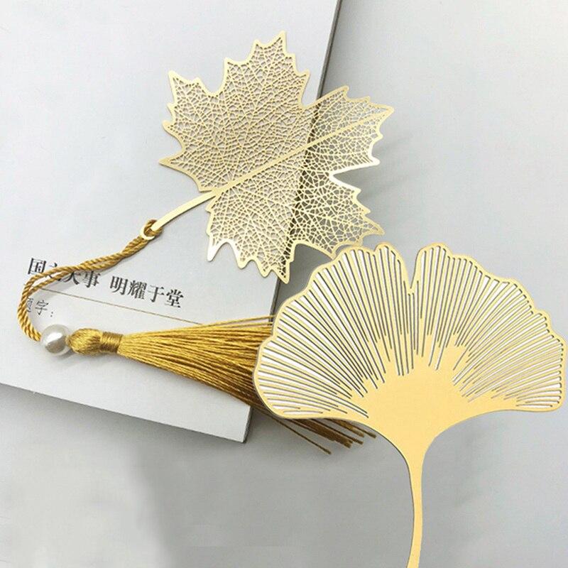 1PC Vein Tasseled Leaf Bookmarks Literature Art Students Supplies Brass Leaf Bookmarks Gifts Teacher Gifts Bookmarks for Books School supplies