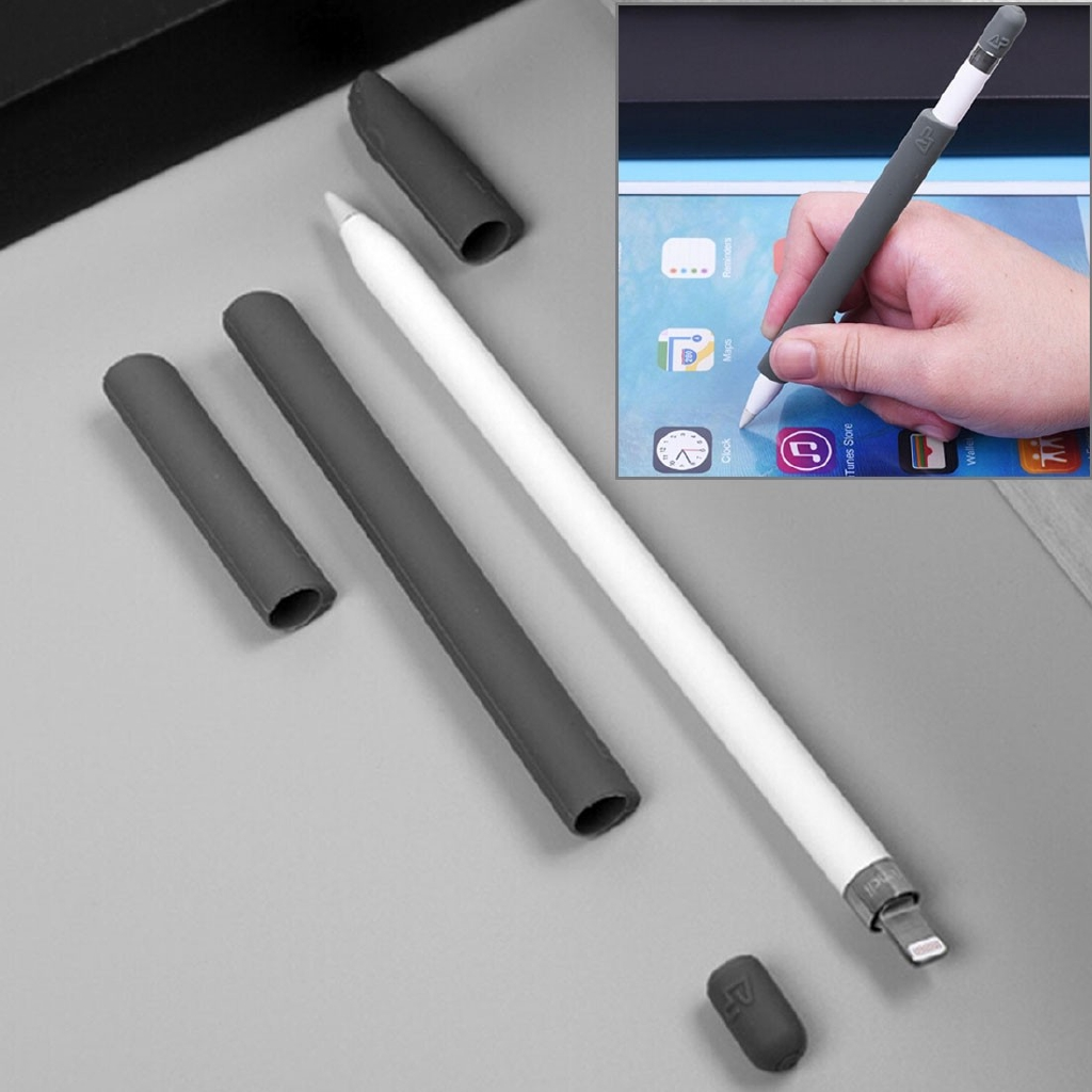 For Apple Pencil Creative 4 in 1 Anti-lost (Pencil Cap + Pencil Point + 2*Penholder Cover)TouchPen Silicone Protective