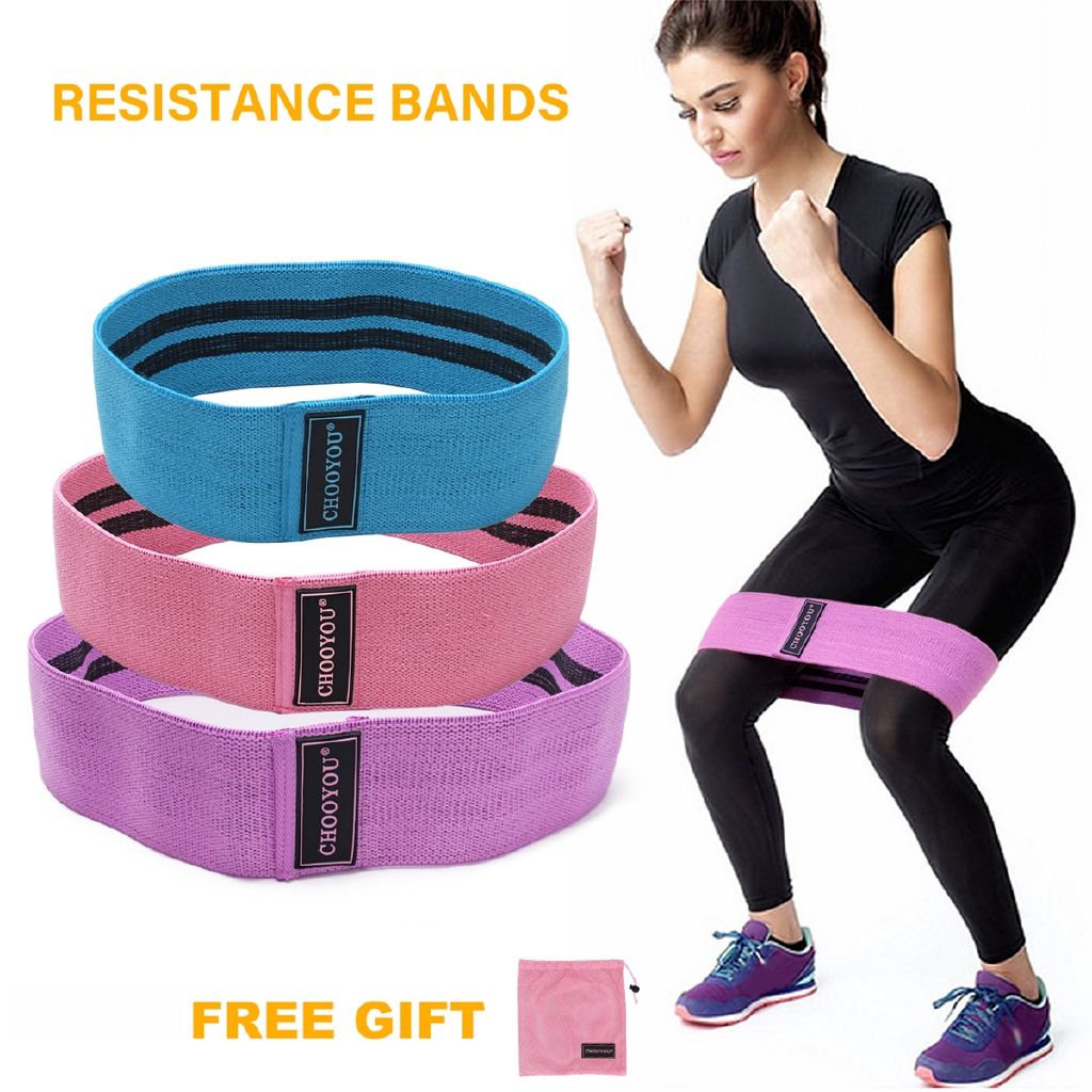 Premium Glute Resistance Bands set of 3 Hip Loops with mesh bag booty-legs-quads