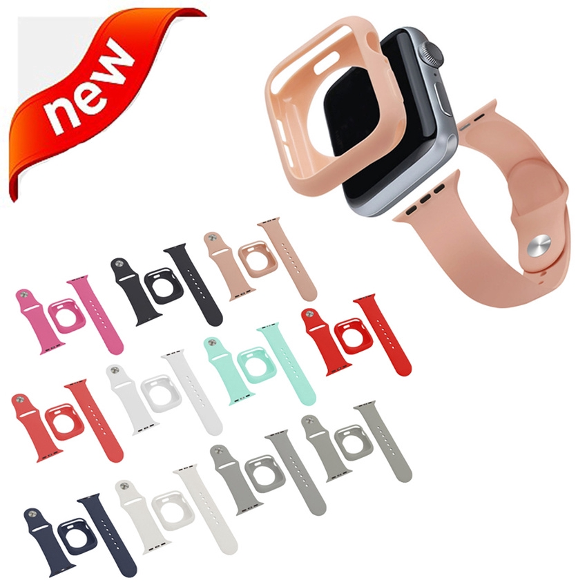 Candy Strap Suit Case for Apple Watch 44mm 40mm 42mm 38mm for Iwatch Series 6 SE 5 4 3 2 1 Protective Soft Silicone Bracelet 2 In 1 Band Cover Strap