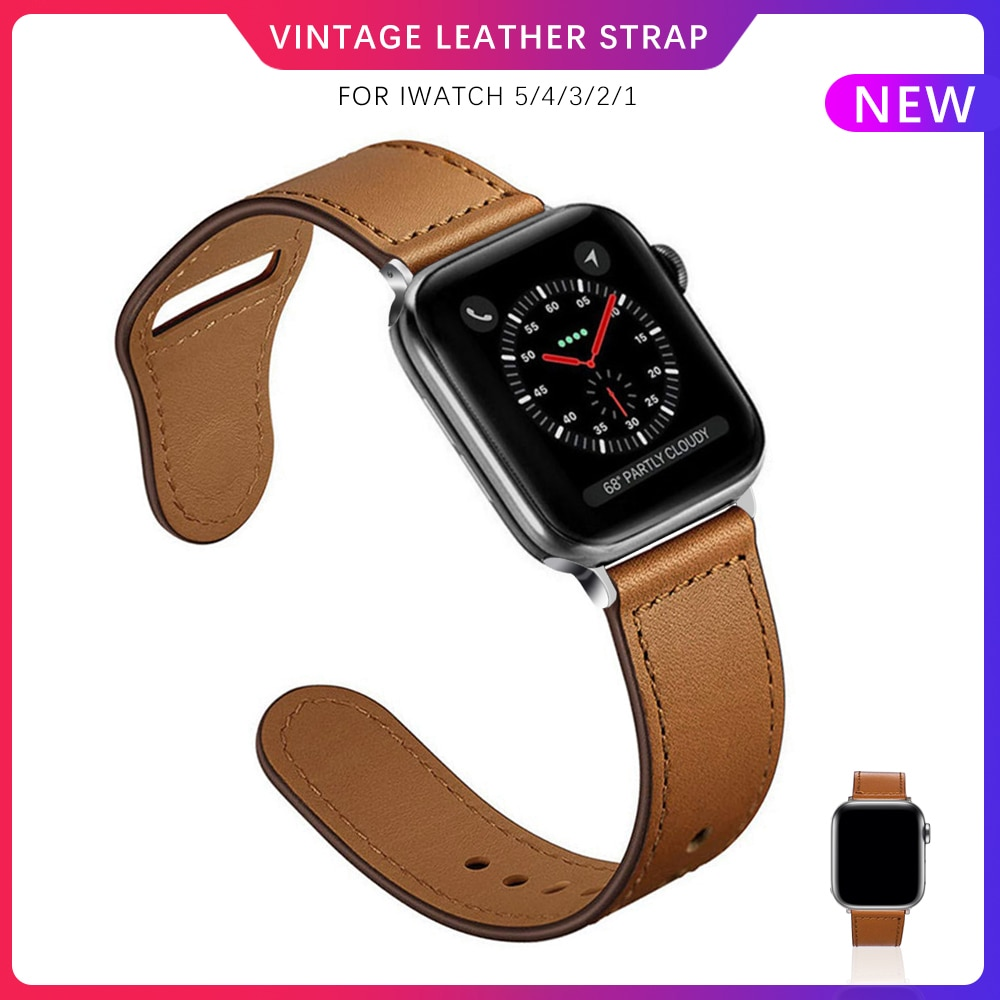 Leather pulseira loop for apple watch band 42 mm 38mm 44mm 40mm for iwatch series 5 4 3 2 1 strap vintage smartwatch bands