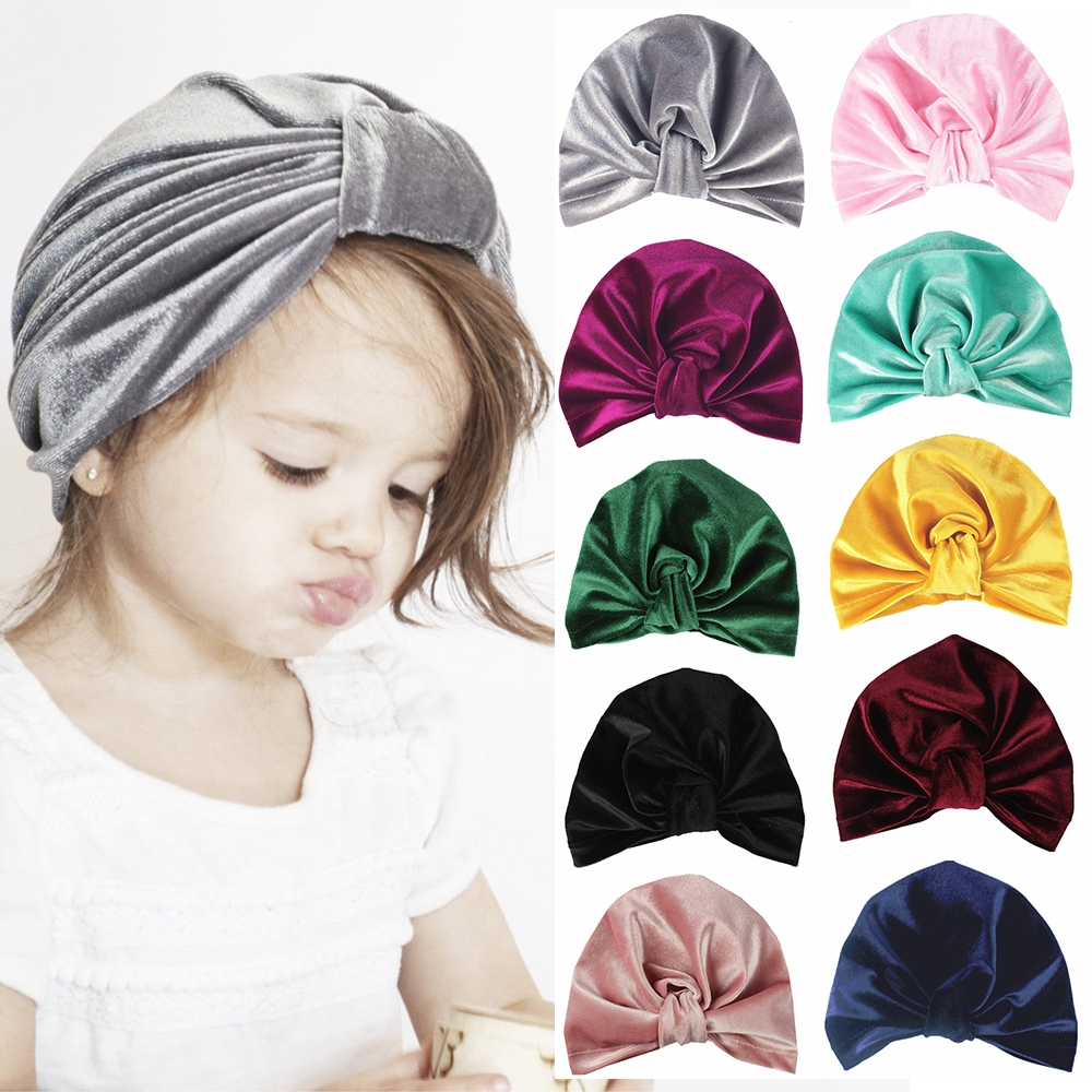 Beanie Hat Boy Girl Winter Caps Velvet Indian Turban Baby Knotted Hat Soft