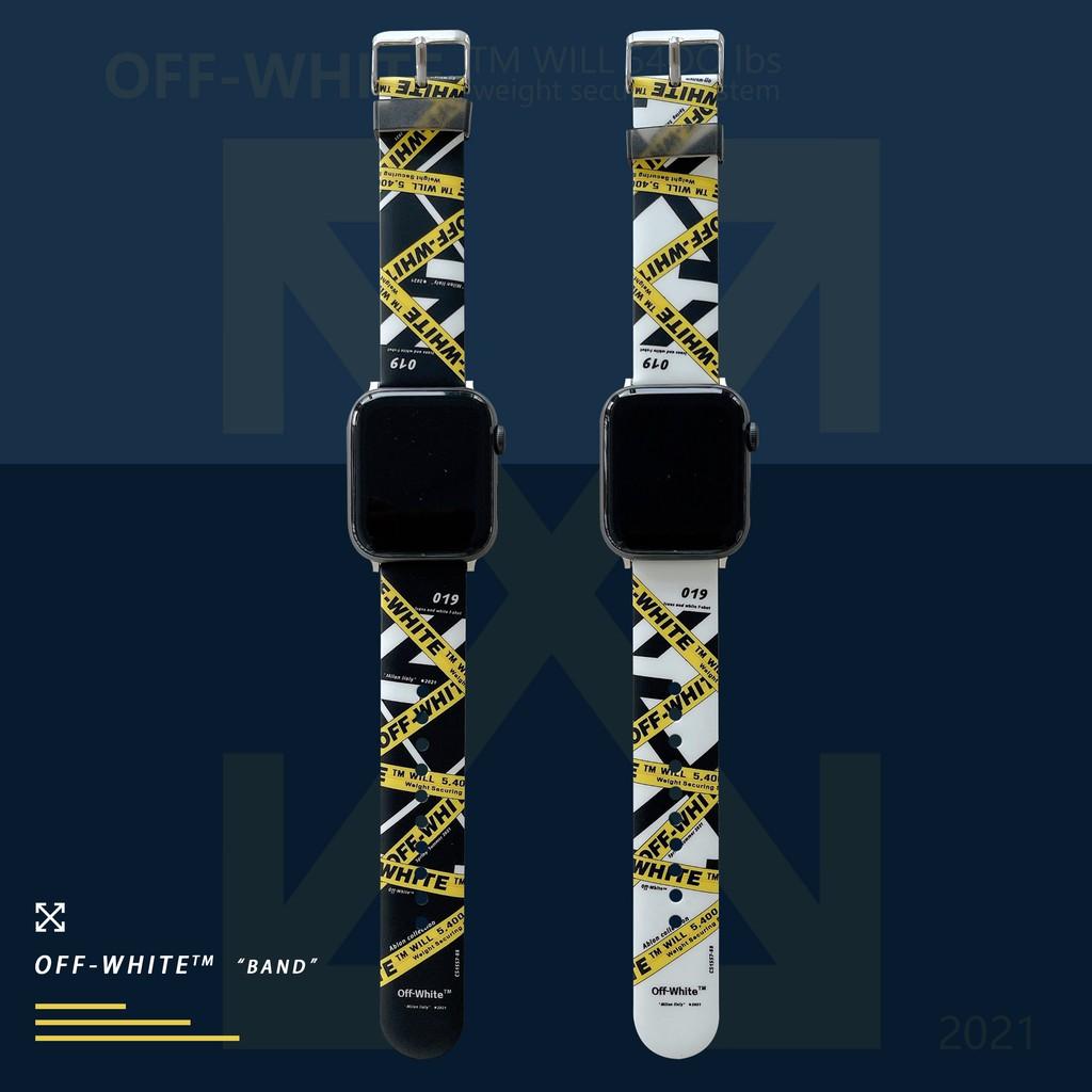 ใหม่OFF WHITE apple watch strap สายยางนุ่ม iwatch series SE 6 5 4 3 2 1  สาย applewatch 38 40 42 44mm