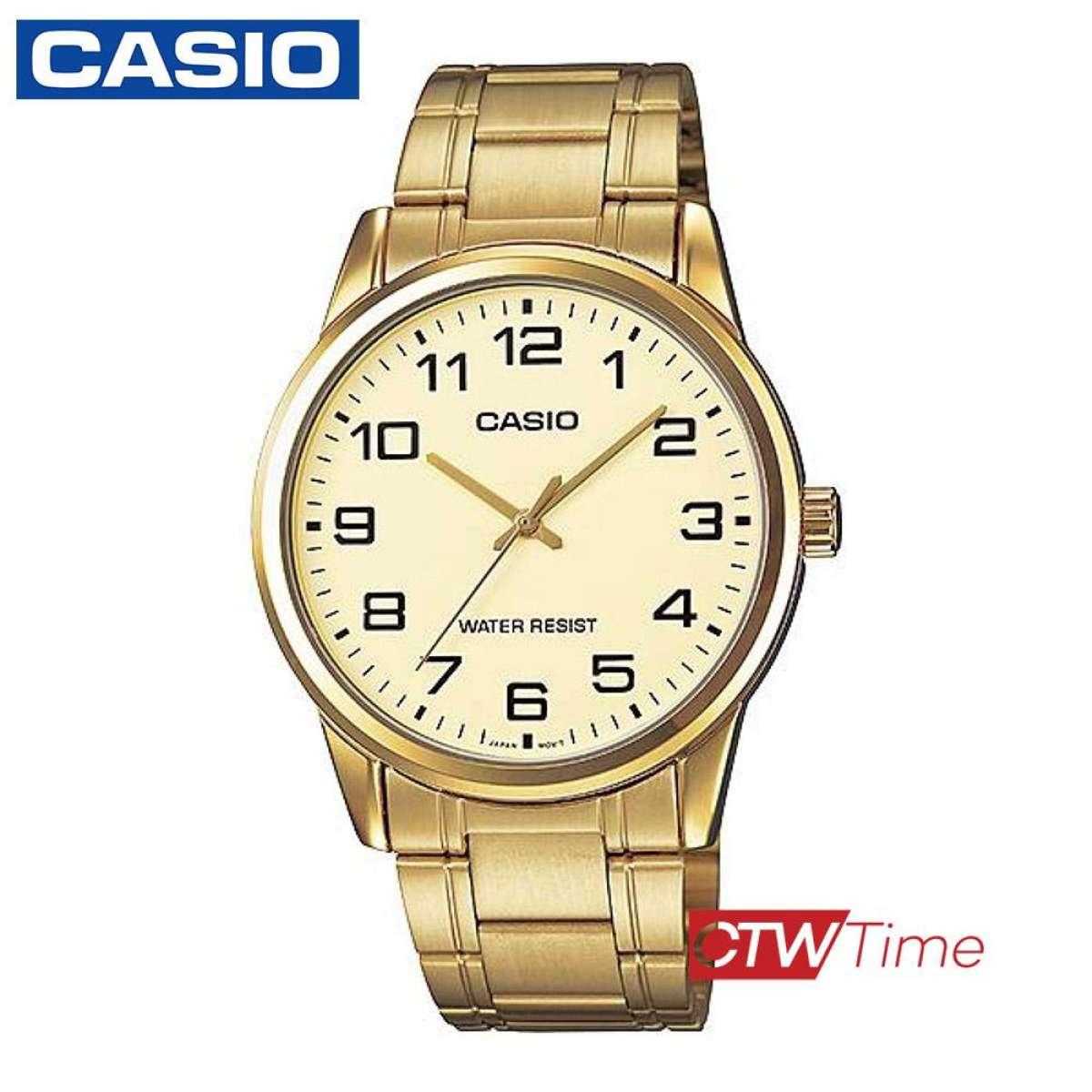 ส่งฟรี !! PRESALE Casio Standard นาฬิกาข้อมือผู้ชาย สายสแตนเลส รุ่น MTP-V001G-9BUDF (หน้าทอง) ZQN2