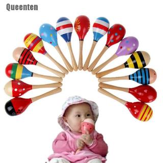 [Queenten] 1 X Cute Baby Kids Sound Music Gift Toddler Rattle Musical Wooden Colorful Toys BBY