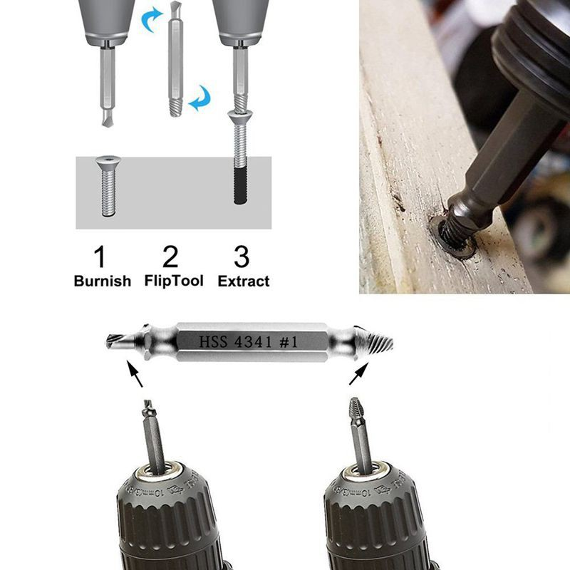 Universal Socket Damaged Screw Extractor with 5 Pcs 7mm-19mm Damaged Screw Remover