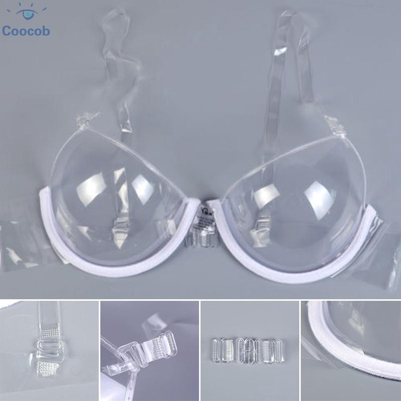 New Women Transparent Clear Strap Invisible Bras Push Up Bras Underwire 3//4 Cup