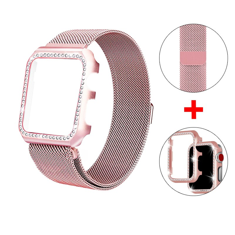 strap + Diamond Case Apple Watch 38mm 40mm 44mm 42mm Stainless Steel strap Milanese Loop bands