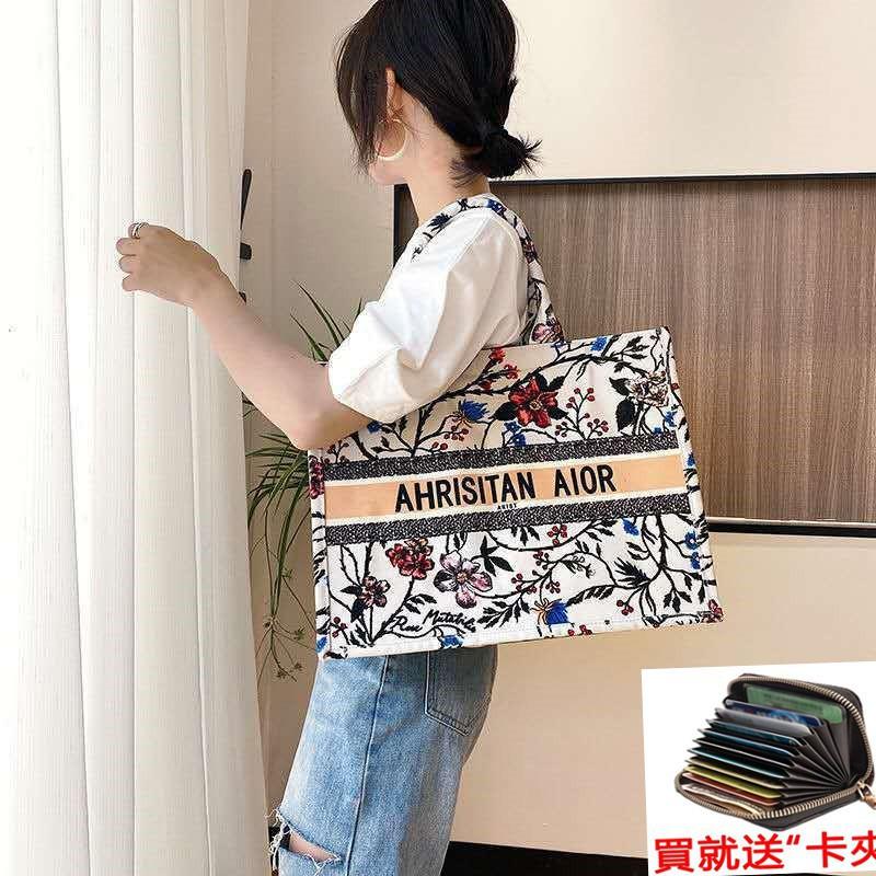 【XE】Dior Shopping Bag Book Tote Old Flower Embroidered Canvas Women's Bag Shoulder Bag Large Dior Tote Bag Handbag