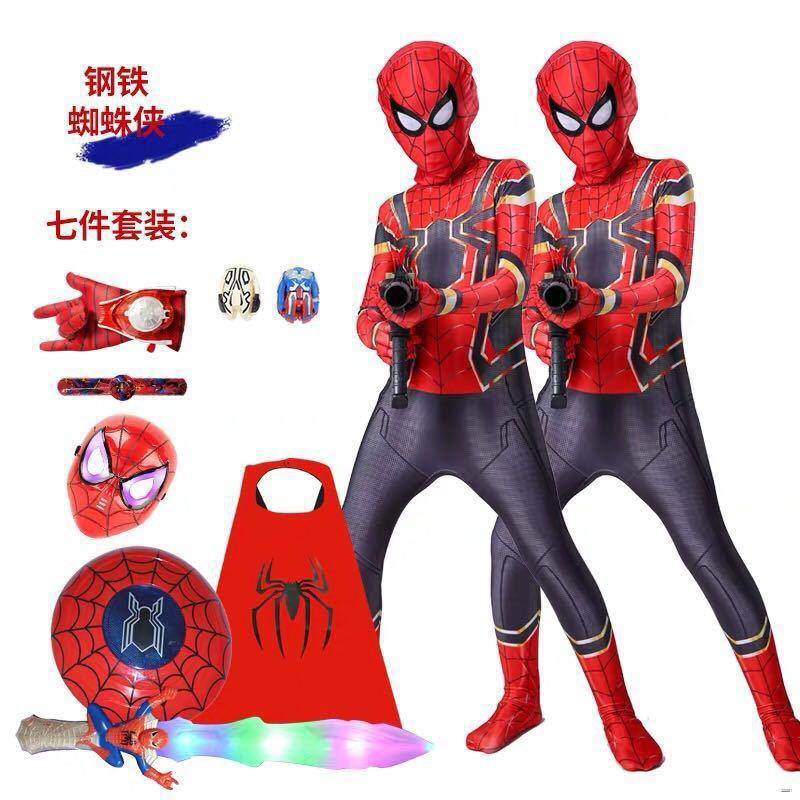 iluↂ❄▦ยางยืดออกกําลังกาย✌❀✆(ชุดเด็ก)  วันเด็กเด็ก Spider-Man Tights Superman เสื้อผ้าเด็กชุดพิเศษผู้ใหญ่ Iron Man Ba