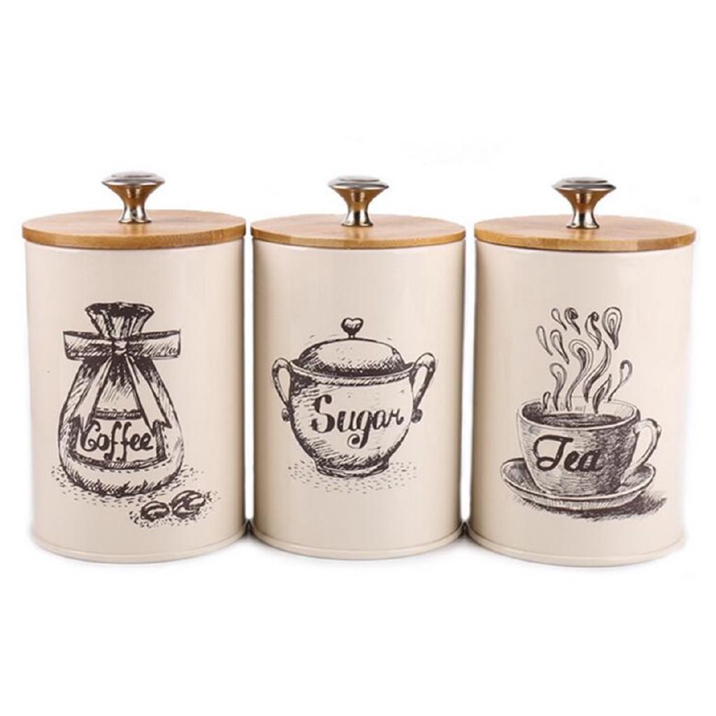 Coffee Storage Canister Kitchen Canisters Jars Pots Jar Vintage Metal Navy