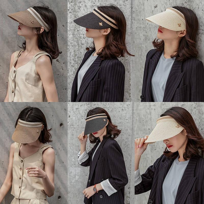 พร้อมส่ง หมวกบังแดด ส่งเร็ว ล่องเรือครีมกันแดดผู้หญิงผีเสื้อหมวกอบไอน้ำเวอร์ชั่นเกาหลีของหญ้า chucking หมวกเป็ดยอดนิยมฤด