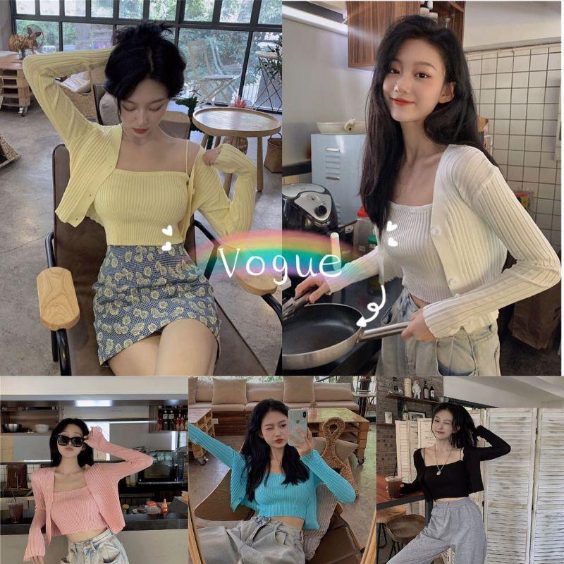 Vogue? พร้อมส่ง?เสื้อไหมพรม 2 ชิ้น ร่องใหญ่ เสื้อคลุม+สายเดี่ยว อันยองมาก?? ( 7195-2 ).
