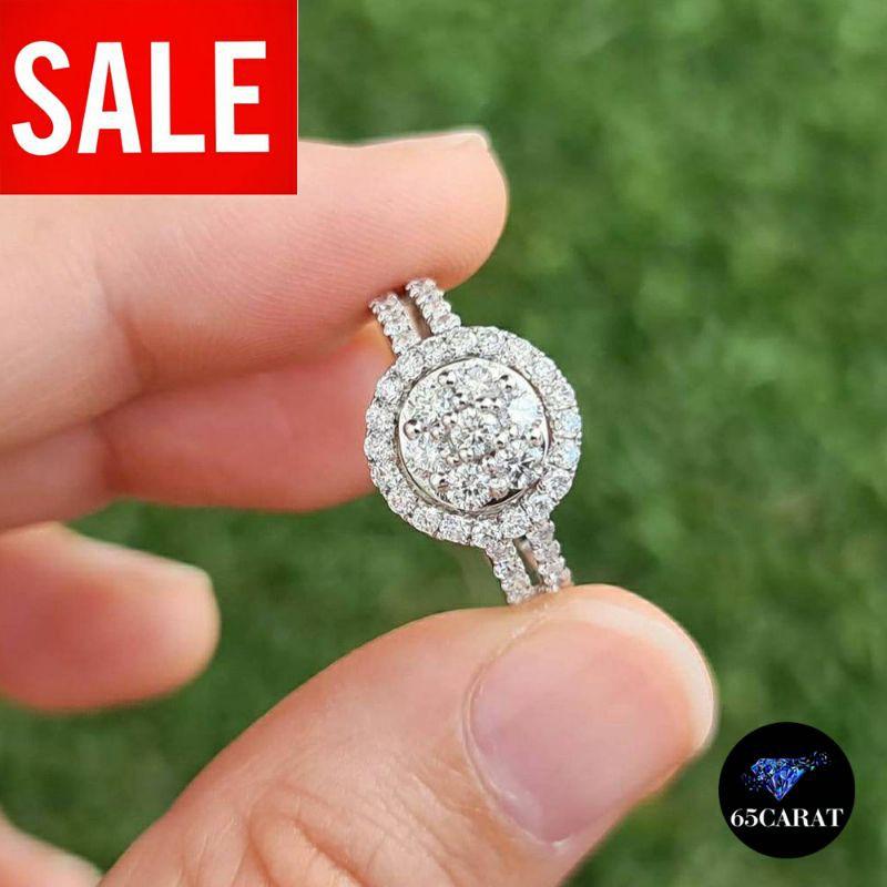 แหวนเพชรแท้เบลเยี่ยมคัท ทองแท้‼️เพชรรวมกว่าหนึ่งกะรัต‼️สินค้ามีใบรับประกัน  ราคาพิเศษจากโรงงานผลิตโดยตรง‼️