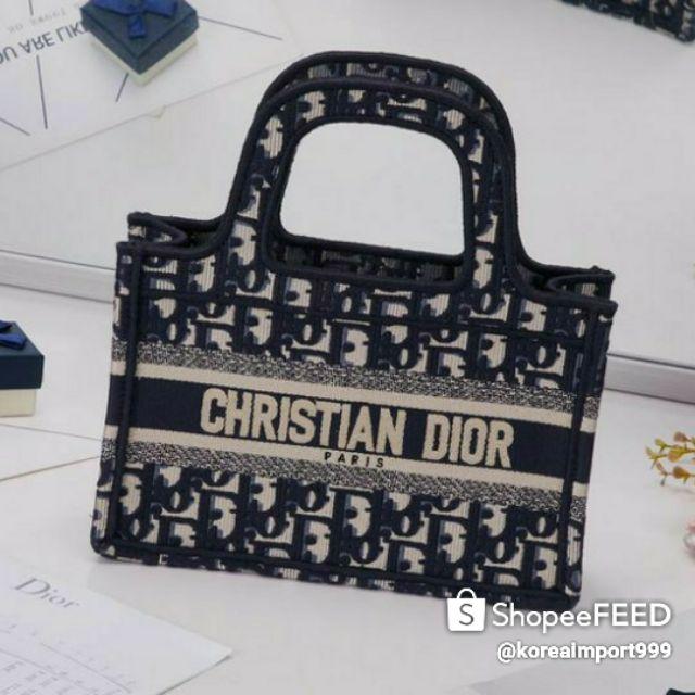 Christian Dior Oblique Canvas Mini Book Tote Blue Bag