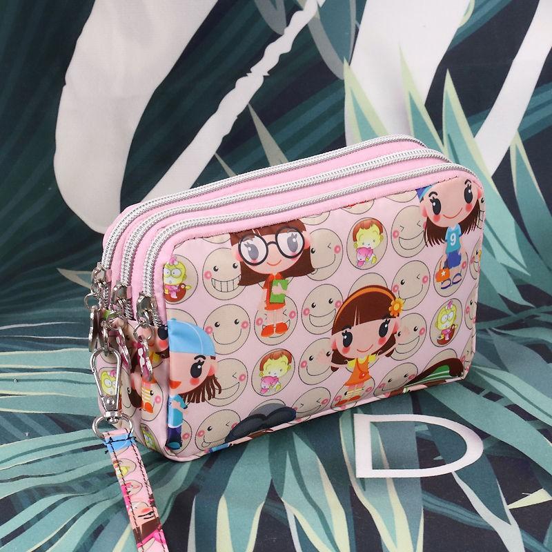 coach กระเป๋าคาดอกกระเป๋าสตางค์สุภาพสตร❁♙ஐกระเป๋าใส่มือถือจอใหญ่ผ้าสามชั้นลายการ์ตูนผู้หญิงจุ coin purse lady กระเป๋าใบ