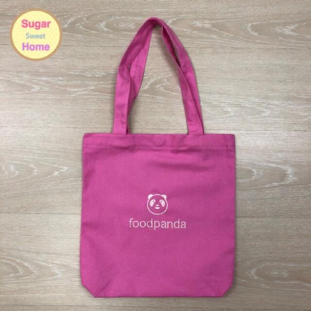 กระเป๋าผ้าแคนวาสปักโลโก้ foodpanda (Canvas tote bag) กระเป๋าช้อปปิ้ง กระเป๋าลดโลกร้อน