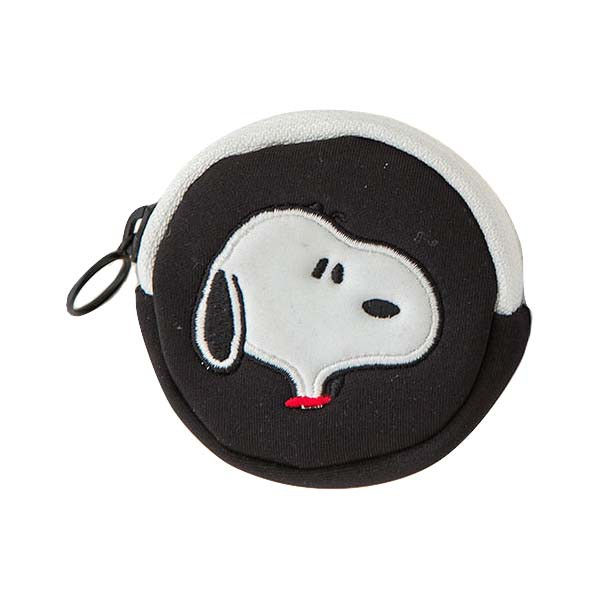 Snoopy Peanuts Mini Pouch Coin Case Up Black
