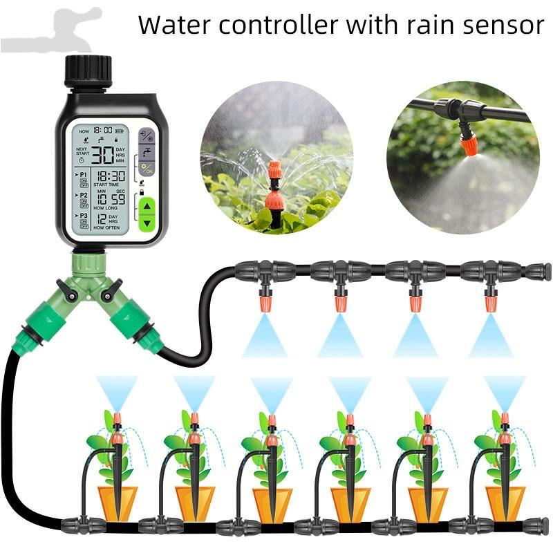 เครื่องตั้งเวลารดน้ำ ดิจิตอล ตัวตั้งเวลารดน้ำต้นไม้ อัตโนมัติ Rain Sensor Water Timer