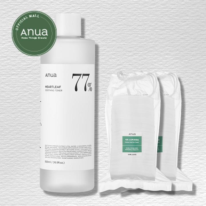 [ANUA] Heartleaf 77% Soothing Toner 500ml /  Cotton Pad for Toner 60pads 2set