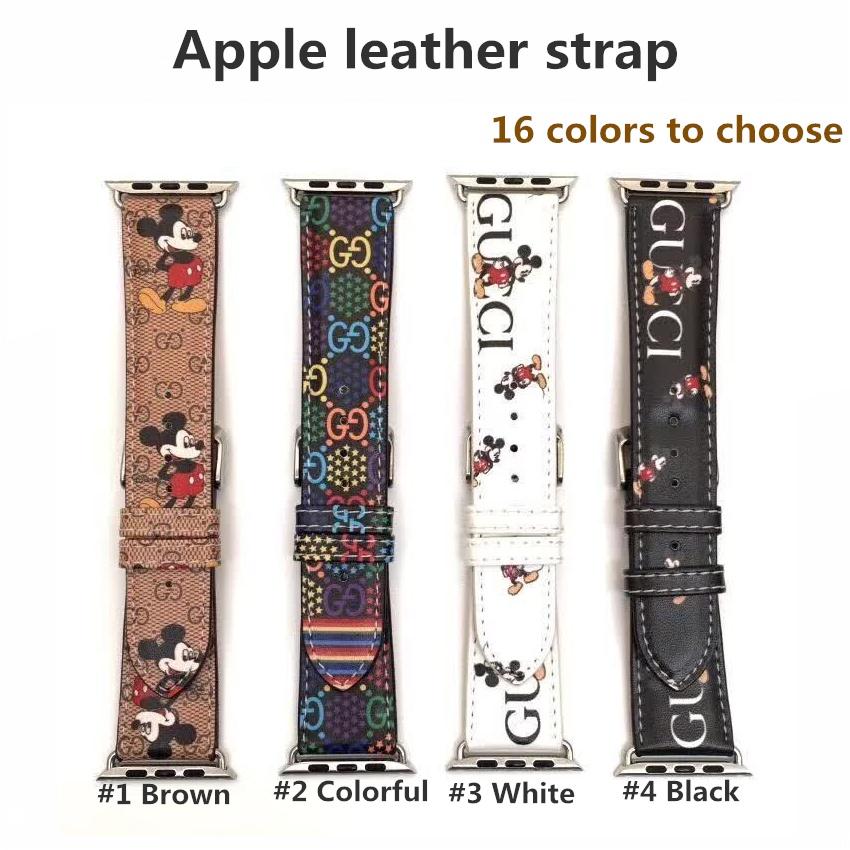 สาย applewatch ายนาฬิกา applewatch Cartoon Genuine Leather Swift strap for Apple Watch series 6 SE 5 4 3 2 1 for iWatch