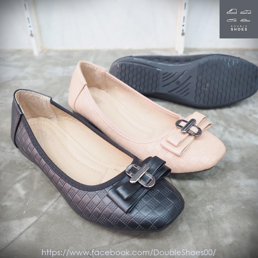 รองเท้าคัชชูส้นเตี้ยหัวตัด ติดวัสดุ  พื้นนิ่ม TASSO ไซส์ 36-40