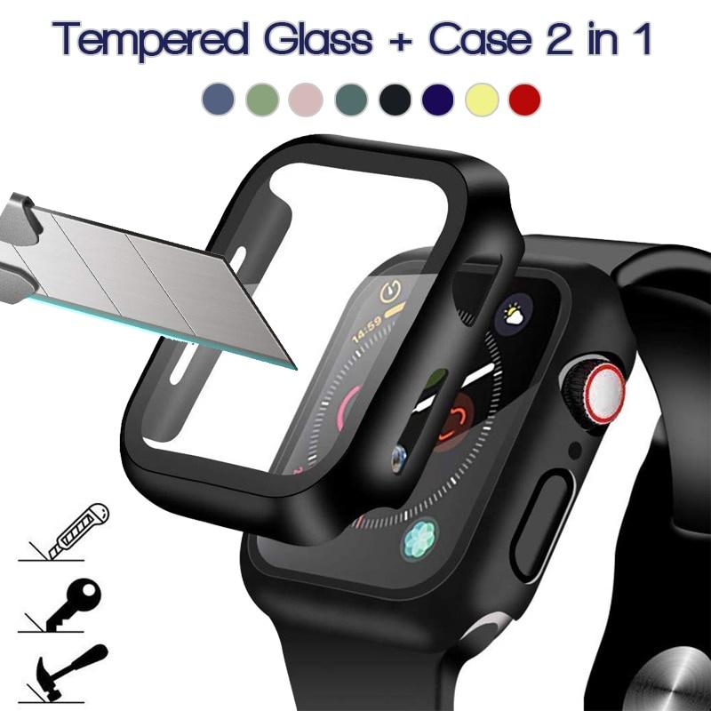 360 Full Screen Protector กรอบกันชน Matte Hard Case สำหรับ Apple Watch 6/SE/5/4/3/2/1 ฟิล์มกระจกนิรภัยสำหรับ Iwatch 38mm 40mm 42mm 44mm