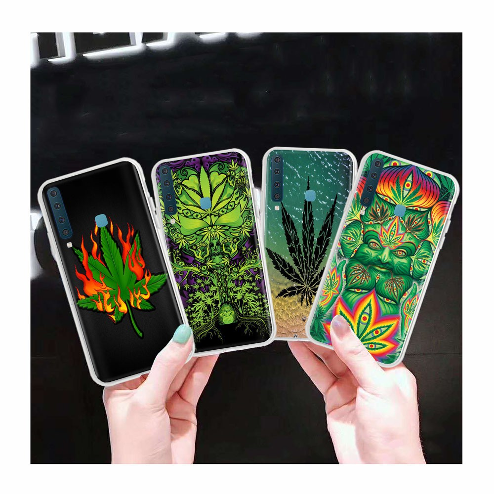 AT145 Weed Leaf Art Transparent Case for Samsung Galaxy Note 8 A6 Plus A8 Star A9 Pro
