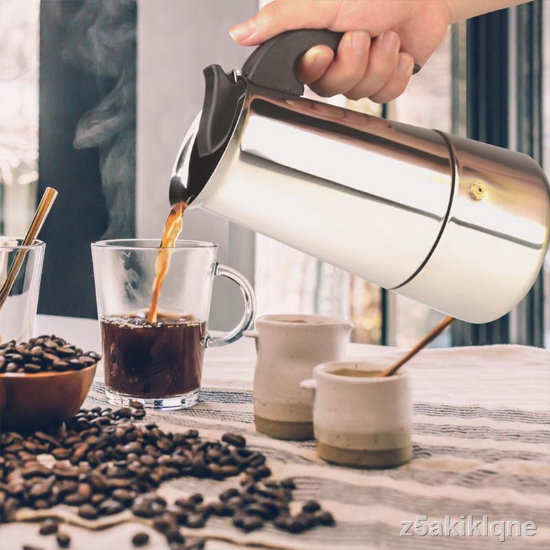ราคาต่ำสุด◕มอคค่าพอท รุ่นสแตนเลส เครื่องทำกาแฟสด กาต้มกาแฟสดแบบพกพาสแตนเลส หม้อต้มกาแฟแบบแรงดัน 300/450ml moka pot kura