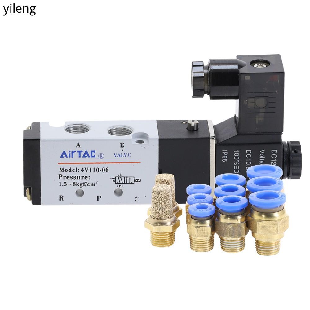 "Airtac 4V110-06 5 Way 2 ตําแหน่ง 1 / 8 "" วาล์วโซลินอยด์ Dc 24 V 12V Ac 110 Ac220V พร้อม 4 มม .1"