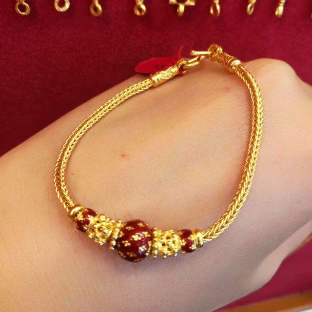สร้อยมือทองแท้ 96.5%   น้ำหนักทอง 1 บาท 16.5cm.  ราคา 30,350 บาท