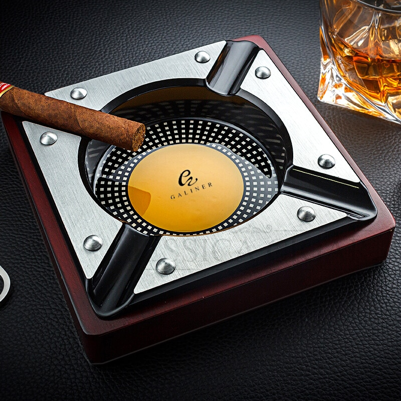 Please CODGALINER Red Wood Cigar Ashtray Home Metal Ash Tray Outdoor Luxury 4 Holder Cigar Cigarette Ashtrays For COHIBA