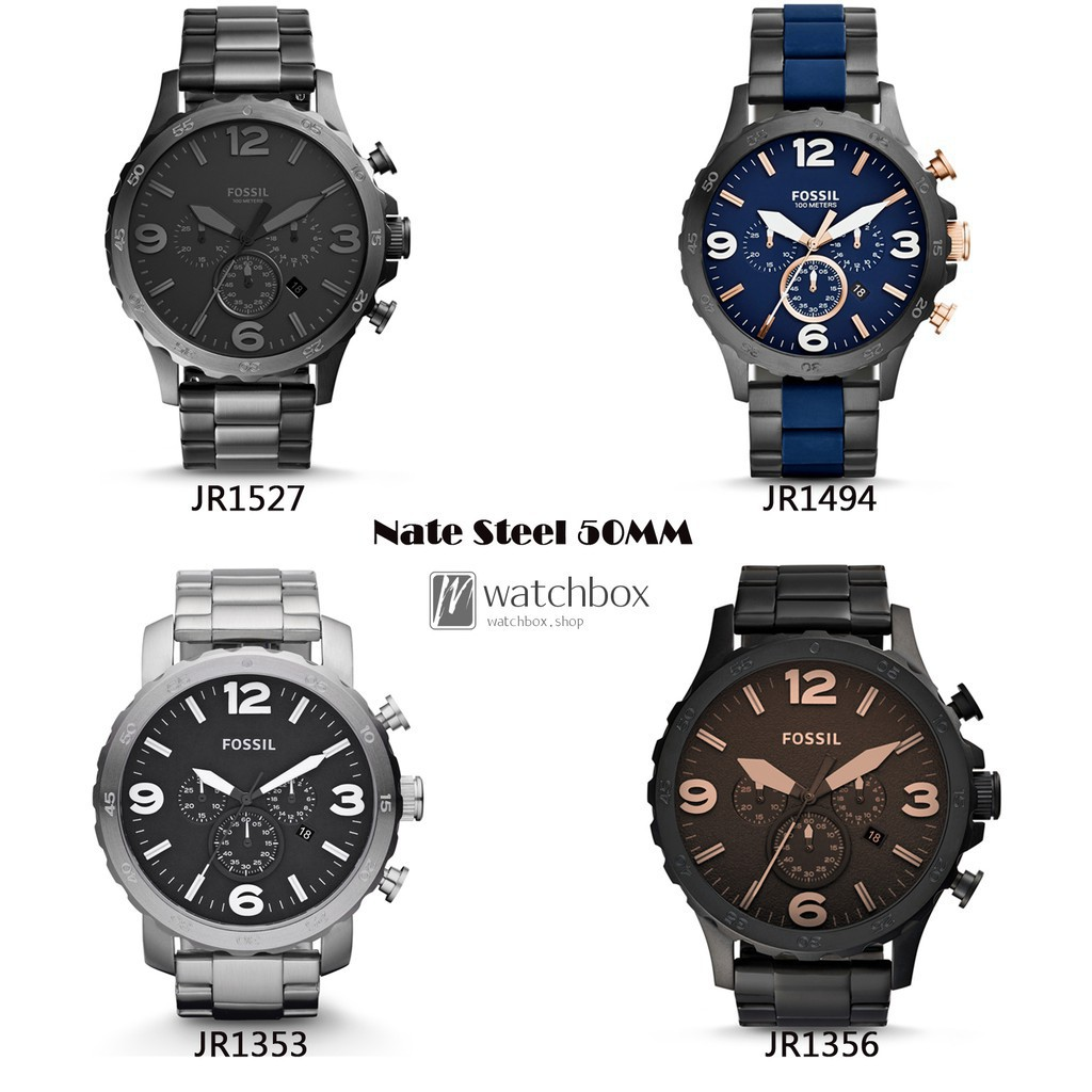 Original Fossil Watch Townsman 44 Shopee Jr1527 Nate 50mm Chronograph Black Dial Two Tone Stainless Thailand