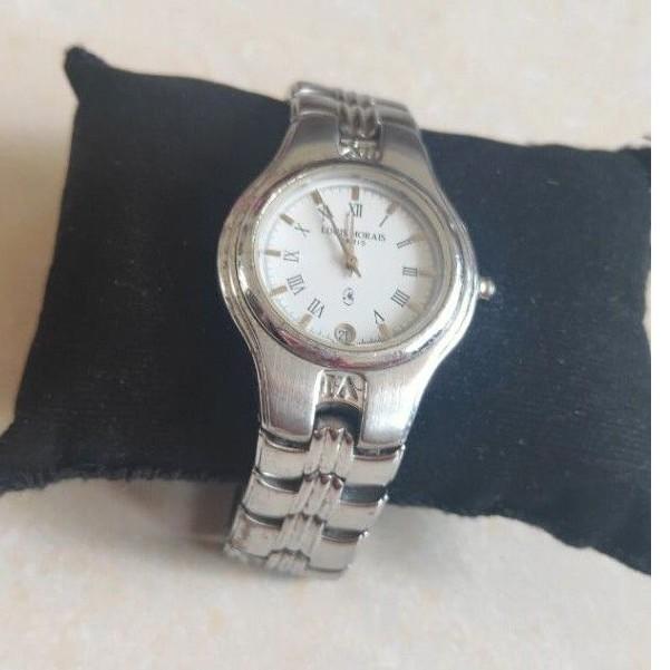 นาฬิกาแบรนด์เนมLOUIS MORAIS PARIS หน้าปัดสีขาว มีช่องวันที่ สายสแตนเลส ของแท้มือสอง