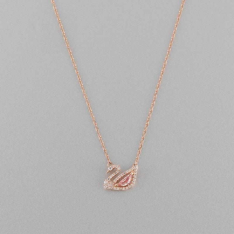 สร้อยคอโซ่DAZZLINGSWANจี้หงส์หรูหราแสง  ของขวัญ5469989SWAROVSKIคริสตัลสวารอฟสไหปลาร้าสีชมพู ผู้หญิงเครื่องประดับหญิง