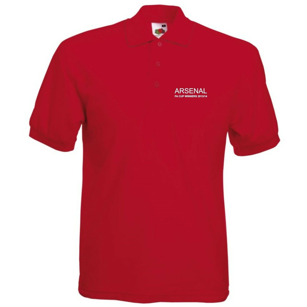 ARSENAL FA CUP WINNERS POLO STRAIGHT TEXT MENS