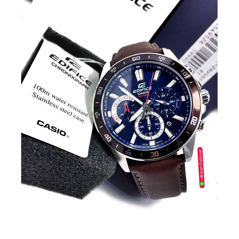 นาฬิกาชาย Casio รุ่น Edifice Chronograph ตัวเรือนสแตนเลส หน้าปัดสีน้ำเงิน สายสีน้ำตาล