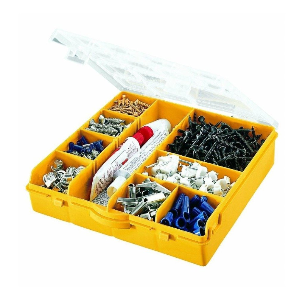 Stack-On SB-10 10 Compartment Storage Organizer Box w Removable Dividers Yellow