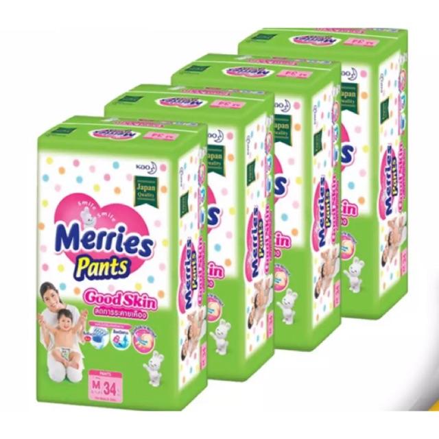 Merries Pants GoodSkin ลดการระคายเคือง size M ขายยกลังจ้า รวม 136 ชิ้น u