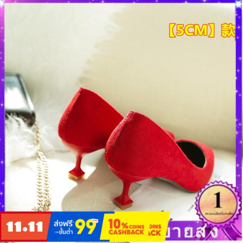 ⭐👠รองเท้าส้นสูง หัวแหลม ส้นเข็ม ใส่สบาย New Fshion รองเท้าคัชชูหัวแหลม  รองเท้าแฟชั่นแมวกับรองเท้าผู้หญิงหนังนิ่มรองเท้า