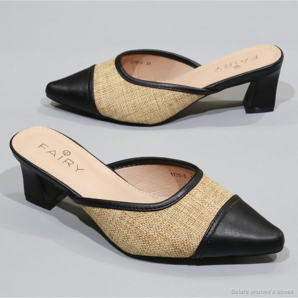 """การจัดส่งที่รวดเร็ว🔥รองเท้าส้นสูง 1779-2 คัชชูเปิดส้นสูง 2 """"  รองเท้าคัชชูเปิดส้น ผ้ากระสอบ ส้นสูง/ส้นใหญ่ แฟชั่น FAIRY"""
